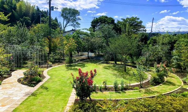 「ローズガーデン」円形の芝生エリアが既存であったので、その周りに芝生の小道を作り、道の両側に30種以上バラを配植しました。